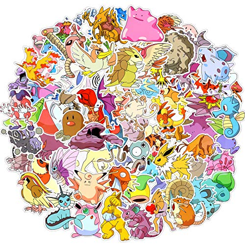 EKKONG Paquete de Pegatinas, Pokémon Pegatinas, 80pcs Pegatinas Vinilo, Pegatinas vsco Impermeables,...