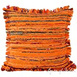 """Eyes of India - 20"""" Orange Chindi Rag Rug Pillow Sofa Cushion Cover Case Couch Indian Bohemian Accent Colorful Boho Chic Handmade Cover ONLY"""