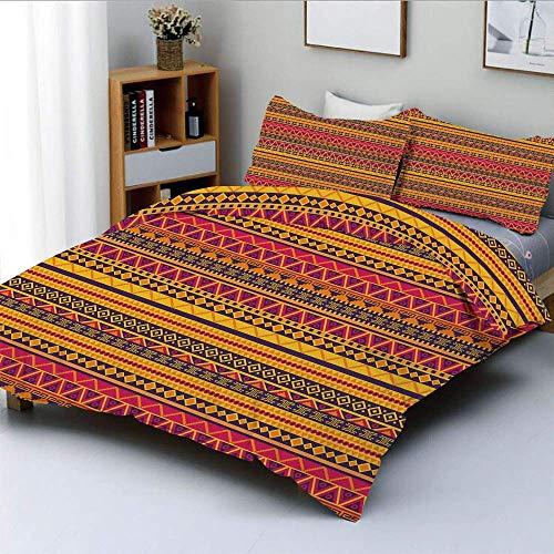 Juego de funda nórdica, Vector estilo étnico Tribal Nativo americano Imagen inspirada con bordes geométricos Juego de ropa de cama de 3 piezas decorativo decorativo con 2 fundas de almohada, Multicolo