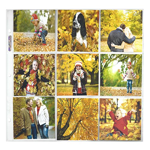 Ultra PRO 12' x 12' Size 9-Pocket Page for 4' x 4' Prints, 10 Pack