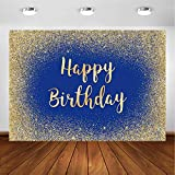 Avezano Navy Blue and Gold Backdrop for Adult Birthday Party Photography Background Happy Birthday Banner Gold Glitter Confetti Spots Dot Sparkle Bday Decoration Photoshoot (7x5ft)