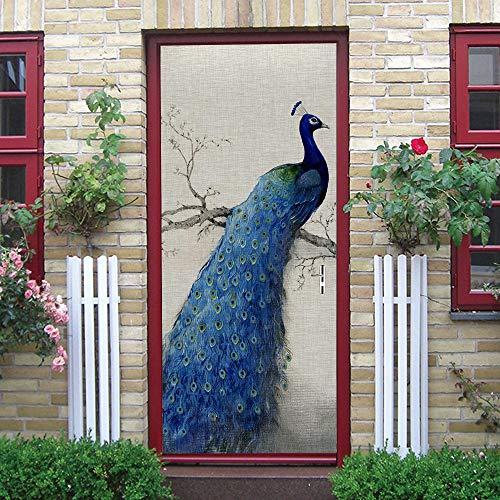Pegatinas de puerta 3D, pegatinas de arte mural autoadhesivas, dormitorio, sala de estar, oficina, baño, decoración del hogar, pavo real