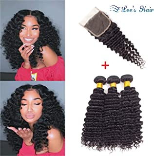 Pineapple Deep Wave Bundles with Closure 10A Brazilian Human Hair Transparent Lace Closure with Bundles (10+12 14 16) Virgin Hair 3 Deep Curly Bundles with Lace Closure Free Part