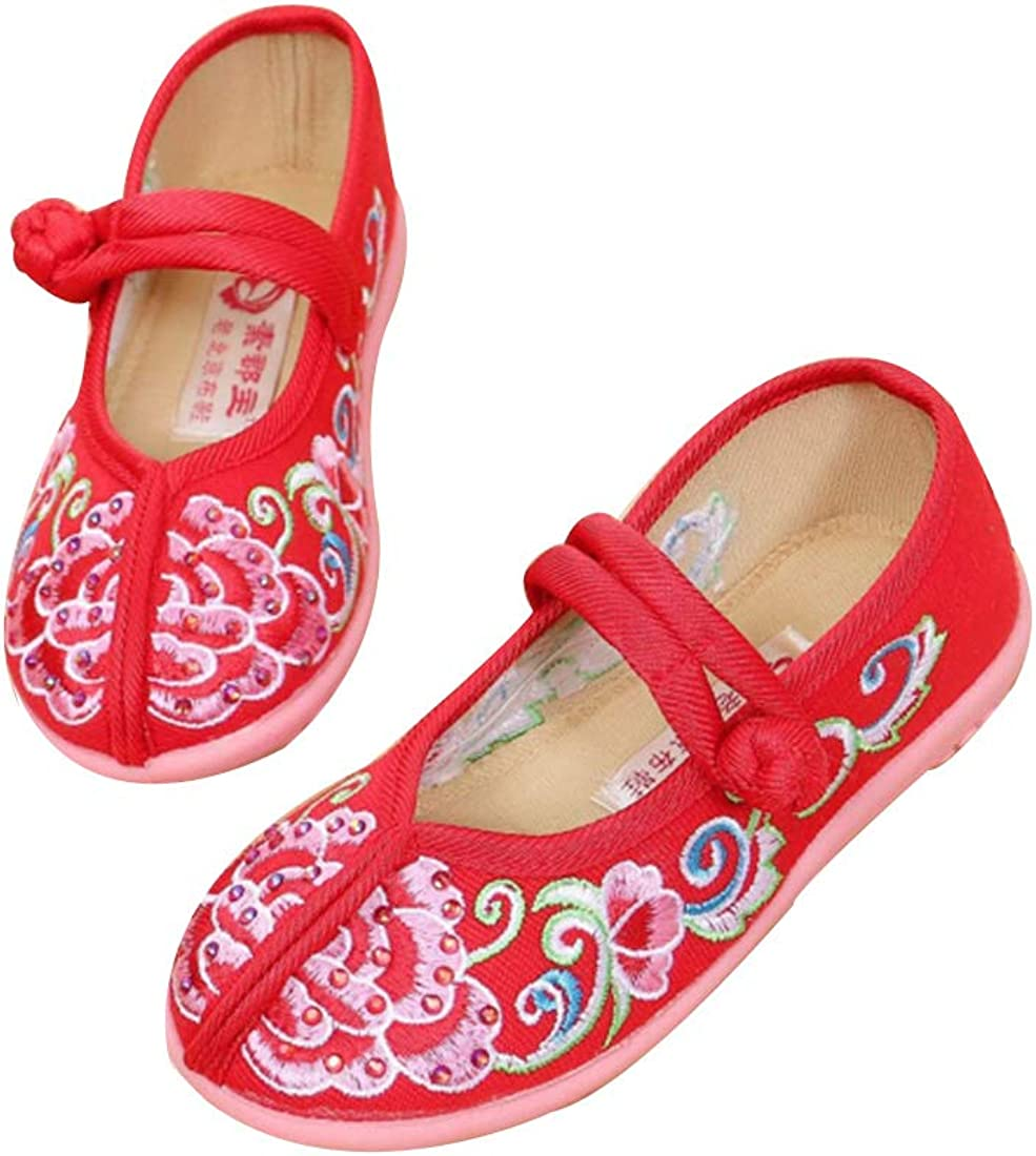 Fulision Girls Embroidered Shoes Chinese Style Shoes Buckle Strap Bottom Shoes