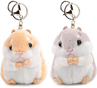 RAYNAG Set of 2 Cute Hamster Plush Keychain Stuffed Animals Keyring Charm Handbag Pendant