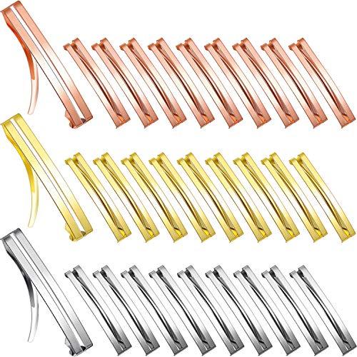 30 Stück Haarspangen aus Metall mit offener Mitte, rutschfest, für Mädchen und Frauen, 3 Farben (klein)