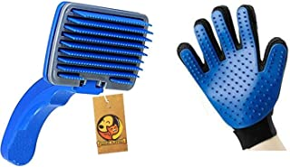 Foodie Puppies Grooming & Deshedding Combo Pack for Dogs, Puppies & Cats with Plastic Slicker Brush and Hair Massager Groo...