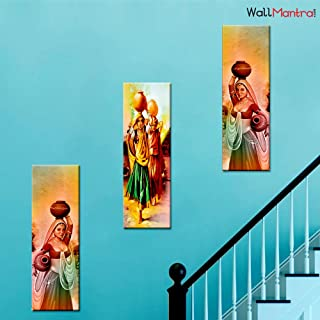 WallMantra Indian Village Women Wall Painting / 3 Pieces Canvas Print Wall Hanging/Stretched and Framed on Wood / 26