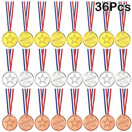 FEPITO 36 Piezas Ganador Medallas Niños Plástico Medallas de Oro Medallas de Plata y Medallas de Bronce para niños Fiestas Decoraciones y premios Deportivos