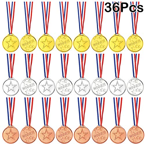 FEPITO 36 Pcs Winner Medals Kids Plastic Gold Medals Silver Medals and Bronze Medals for Kids Party Favor Decorations and Sports Awards