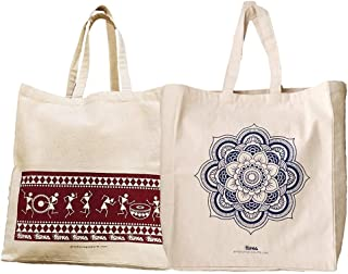 Arka Home Products Cotton and Canvas Reusable Printed Bags (16 X 14 X 4 Inches, Off White)-2 Pieces