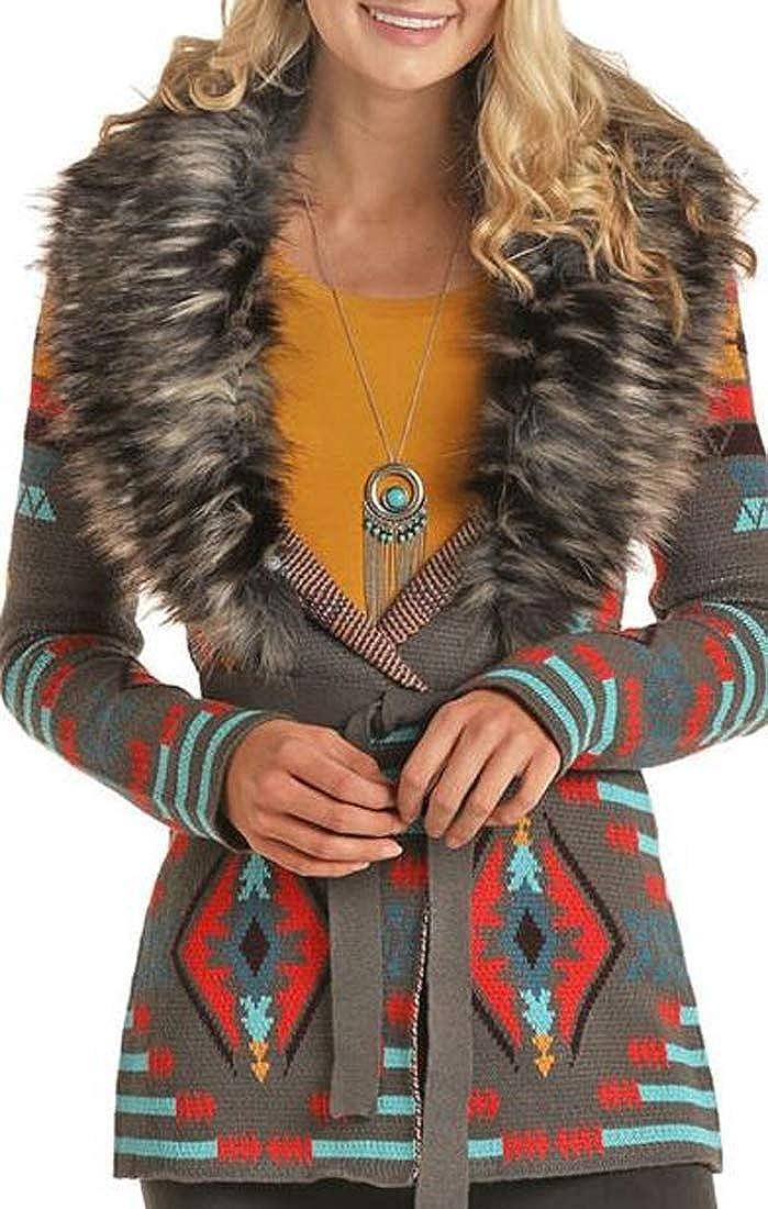Powder River Outfitters Women's Jacquard Faux Fur Cardigan