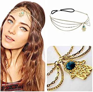 Olbye Turquoise Head Chain Gold Hamsa Headband Bridal Hair Piece for Women and Girls Boho Hair Chain