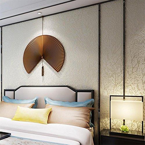 H&M Wallpapers Pastoral Style 3D Stereo Bäume Texture Non-Woven Dekorative Wohnzimmer Restaurant TV Wände Schlafzimmer Kleider Wallpaper -53 cm (W) * 9,5m (L) - Creme Farbe