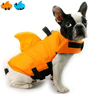 Snik-S Dog Life Jacket- Preserver with Adjustable Belt, Pet Swimming Shark Jacket for Short Nose Dog (Pug,Bulldog,Poodle,Bull Terrier)