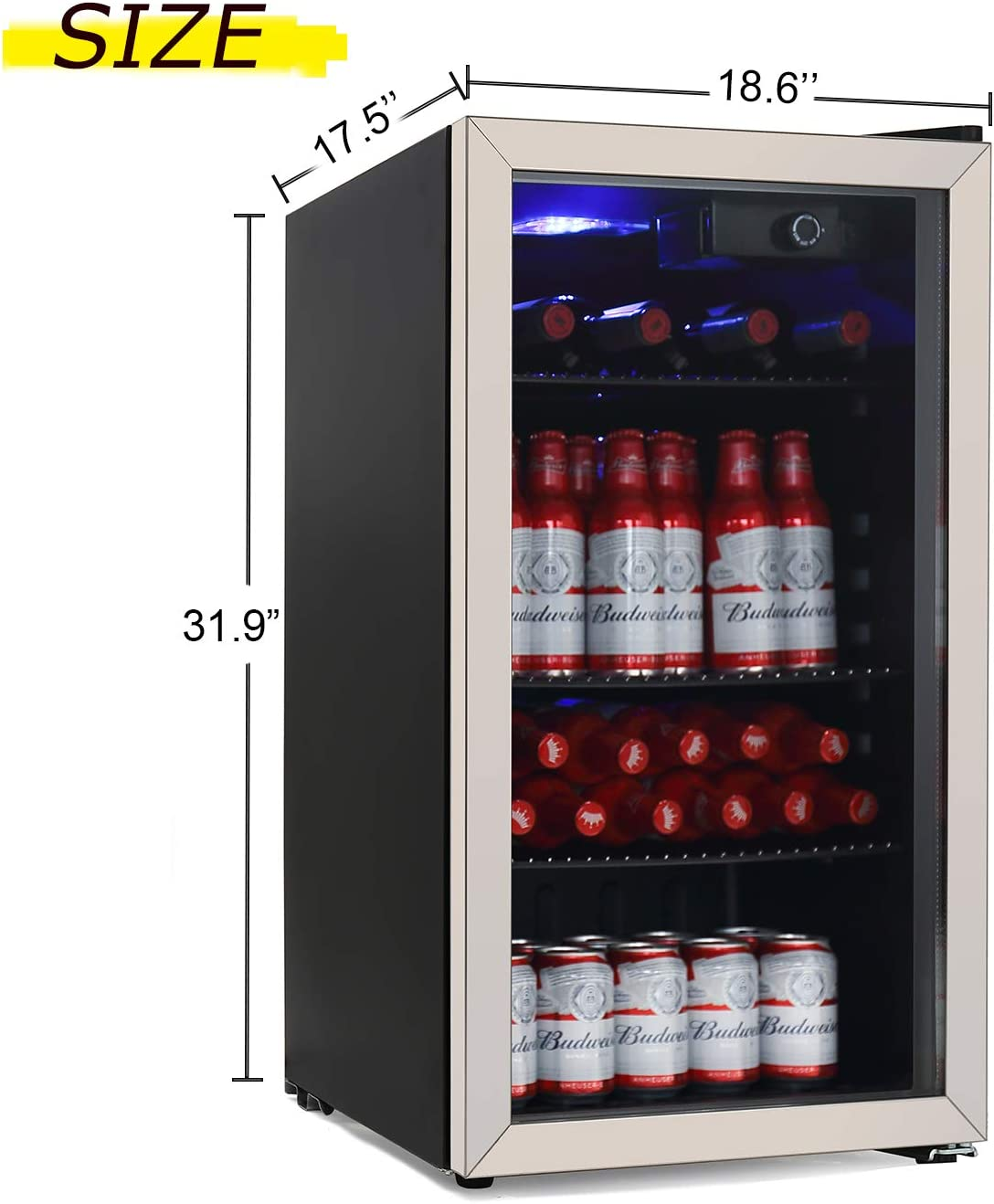 Office or Bar soda or Wine 90 Can or 26 Bottles Mini Fridge freestanding for Home Drink Freezer for Party OKADA Beverage Refrigerator or Wine Cooler with Glass Door for Beer