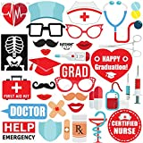 GRADUATION NURSE PHOTO BOOTH PROPS - Pack of 33 | Nurse Graduation Photo Booth for RN Party Decorations 2020 | Doctor Nurse Graduation Party, Nursing School Graduation Party Supplies | DIY Required