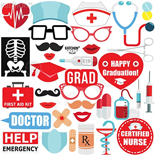 Nurse Photo Booth Props 2021 - Big Pack of 33, DIY Required   Graduation Photo Props   Nurse Party Decorations   Nursing Photo Booth Props for Photoshoot   Medical School Graduation Party Decorations