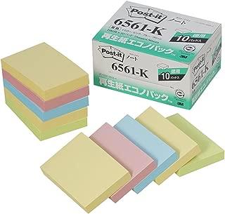 ポストイット 付箋 ノート パステルカラー 75×50mm 100枚×10パッド 6561-K