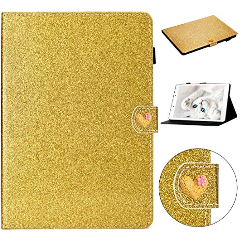 GLXC AYDD For Samsung Galaxy Tab A 8.0 2019 Love Buckle Glitter Horizontal Flip Leather Case with Holder & Card Slots (Color : Gold)