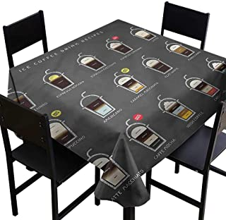 home1love Coffee Anti-Fading Tablecloths ICY Drink Recipe Ingredients for Square and Round Tables 60 x 60 Inch
