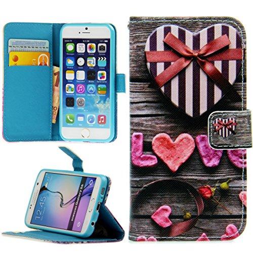 Handy Lux® Schutz Hülle Tasche Kartenfächer Flip Hülle Etui Cover Involto Motiv Design Hülle BookStyle für LG K40s, Love Herzen