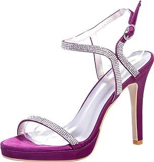 Vimedea Womens Ankle Strap Sandals Rhinestone Heeled Platform Slingback Sexy Wedding Bride Open Toe Satin Satin 5915-32