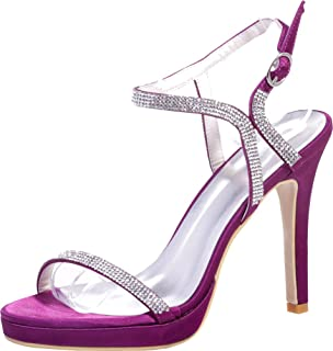 Vimedea Womens Ankle Strap Sandals Rhinestone Heeled Platform Slingback Sexy Wedding Bride Open Toe Satin Satin 5915-32
