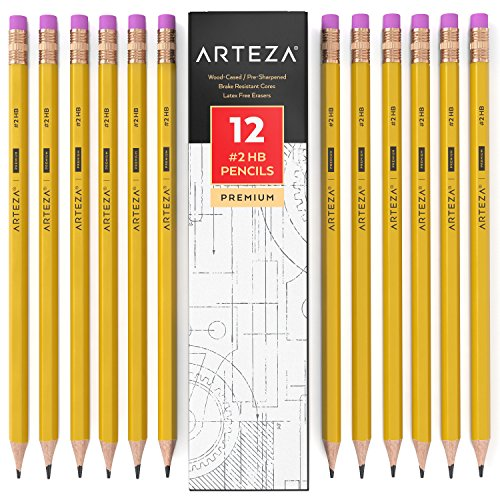 Arteza #2 HB Wood Cased Graphite School Pencils, Pack of 12, Bulk, Pre-Sharpened with Latex Free Erasers, Bulk, Office Supplies for Exams, School, Office, Drawing and Sketching