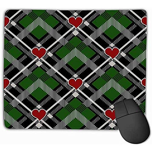 Muis Pad Valentijn s Dag Hipster Stijl Tartan Buffalo Check Plaid Patronen Zwart Groen Rood Harten Patroon Tegel Grafische Rechthoek Rubber Mousepad 30X25CM