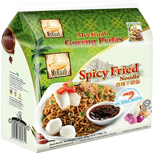 8-pack MyKuali / Malaysia Best Brand / Spicy Fried Noodle / Amazing Chili Paste & Fried Shallots With Excellent Springy Chewy Thick Noodles (100g/pack)