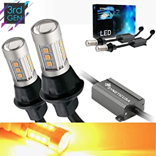 Error Free Canbus Ready Yellow/Amber LED Front/Rear Turn Signal Light Bulbs DRL Parking Lamp No Hyper Flash All in One (7443)