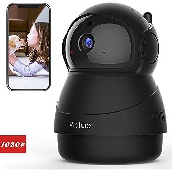 Victure Caméra de Surveillance,1080P Caméra WiFi sans Fil, Caméra Dome IP Intérieur, Vision Nocturne, Détection de Mouvement, 2 Way Audio, Pan/Tilt/Zoom pour Bébé/Aîné/Animal (Black)