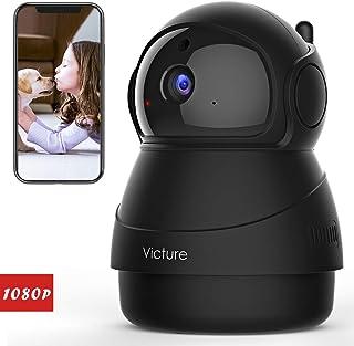 Victure 1080P Cámara IP WiFiCámara de Vigilancia FHD con Visión NocturnaCámara de MascotaDetección de MovimientoAudio de 2 Vías 2.4GHz WiFi Compatible con iOS/Android (negro)