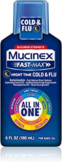 Mucinex Fast-Max Adult Nighttime Cold and Flu Liquid, 6 Ounce