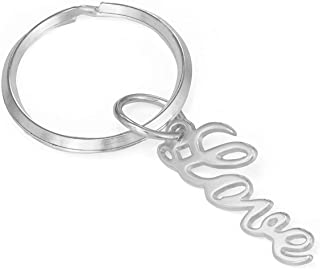 Christmas Gift Customized Keychain - Personalized Any Name or Word in Sterling Silver 925
