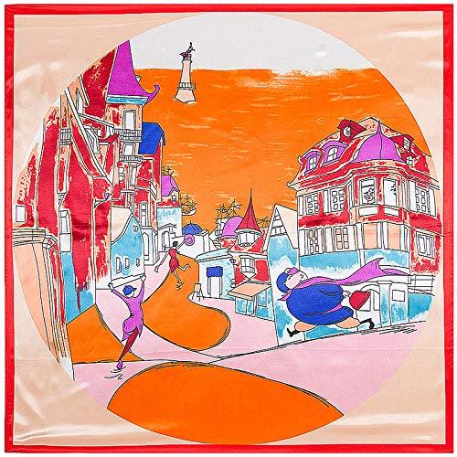 AHUIOPL Seda imitada 90 * 90 cm Cuadrado Bufanda de Seda de Las Mujeres de Gran tamaño de Dibujos Animados Faro Calle mantón Hijab señoras Bufandas Envuelve