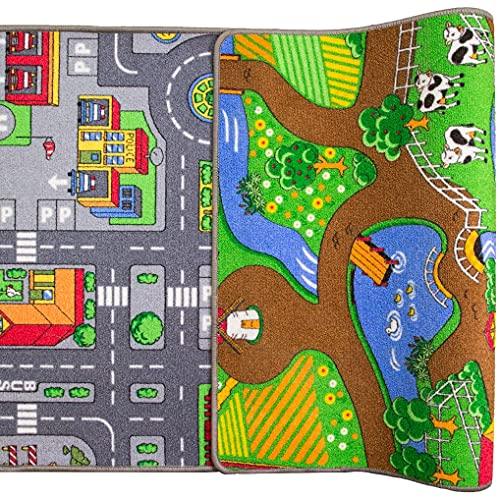 """The Rug House Alfombra impresa doble cara de la ciudad para niños 80cm x 150 cm (2'7"""" x 4'11"""" )"""