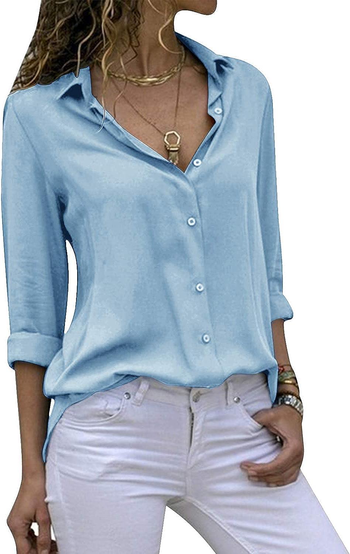 ZOMIHOYANG Women Long Sleeve V Neck Chiffon Blouses Tops Button Down Business Shirts for Women