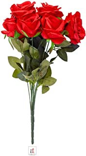 Art Street Set of 1 Artificial 9 Head Red Rose Flowers with Stem for Home Decoration, Perfect for Decorating a, Home Garde...