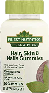 Finest Nutrition Free & Pure Hair, Skin & Nails Adult Gummies 60 Ct