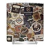 Lplpol Beers Of The World Duschvorhang mit 10 Haken, 150 x 180 cm