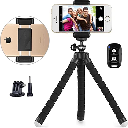 Phone Tripod, UBeesize Portable and Adjustable Camera Stand Holder with Wireless Remote and Universal Clip, Compatibl...