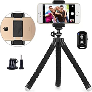 Phone Tripod, UBeesize Portable and Adjustable Camera Stand Holder with Wireless Remote and Universal Clip, Compatible wit...