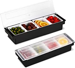WICHEMI Ice Cooled Condiment Holder Dispenser Tray For Candy, Dips & Salad   Toppings Serving Container Chilled Garnish Tray Bar Caddy for Home Work or Restaurant (4 Compartment)