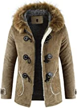 BingYELH Men's Winter Thermal Hooded Faux Fur Collar Jacket Long Horns Button Coat Duffel Coat Mid Length