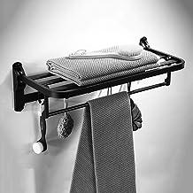 Handdoekrek vrij ponsen, ruimte aluminium rek, badkamer badkamer rek, vouwen activiteit handdoekenrek dubbele stok, zwart
