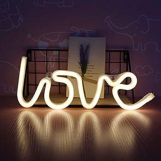 LED Neon Light Sign, Love/Lightning Wall Art Decorative Neon Hanging Sign for Bar Bedroom Living Room Kid's Room Party,Hom...