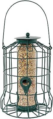 Sunnydaze Outdoor Hanging Wild Bird Feeder, Squirrel Proof Metal Wire Cage, 4 Peg, 10 Inch