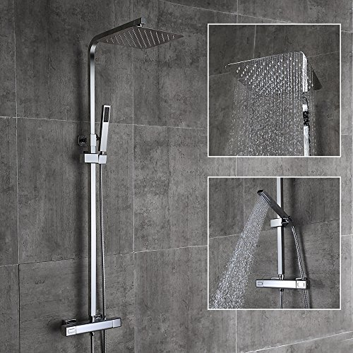 Homelody – Thermostat-Duschsystem mit Brausegarnitur, Regenbrause, eckig, Chrom - 7